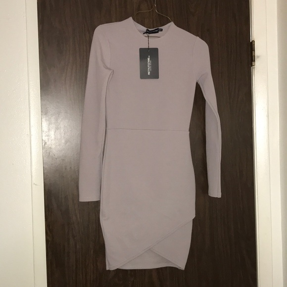 734d457d8a Dresses | Idda Dove Grey Long Sleeve Wrap Bodycon Dress | Poshmark
